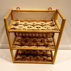 Rattan and wicker shelving unit